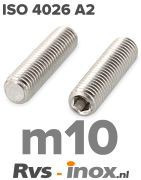 Rvs stelschroef m10 - ISO 4026 A2 | Rvs-inox.nl