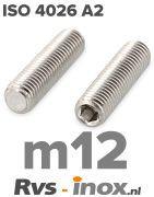 Rvs stelschroef m12 - ISO 4026 A2 | Rvs-inox.nl