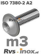 Rvs laagbolkopflensschroef m3 - ISO 7380-2 A2 | Rvs-inox.nl