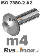 Rvs laagbolkopflensschroef m4 - ISO 7380-2 A2 | Rvs-inox.nl
