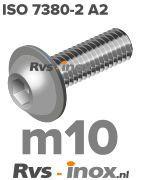 ISO 7380-2 A2 - m10 | rvs laagbolkopflensschroef | Rvs-inox.nl