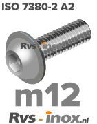 ISO 7380-2 A2 - m12 | rvs laagbolkopflensschroef | Rvs-inox.nl