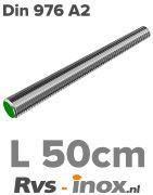 Rvs draadeind 500mm - DIN 976 A2 | Rvs-inox.nl