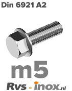 Rvs zeskantflensbout m5 - DIN 6921 A2 | Rvs-inox.nl