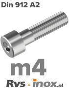 DIN 912 A2 - m4 | rvs inbusbout | Rvs-inox.nl