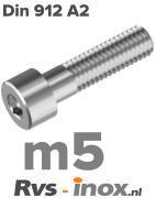 DIN 912 A2 - m5 | rvs inbusbout m5 | din 912 RVS m5 | Rvs-inox.nl