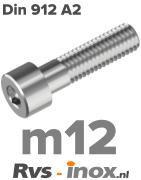 Rvs inbusbout m12 - DIN 912 A2 | Rvs-inox.nl