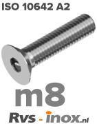ISO 10642 A2 - m8 | rvs inbusbout verzonken kop m8 | Rvs-inox.nl