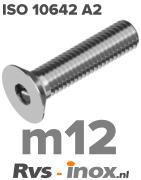 Rvs inbusbout m12 - ISO 10642 A2 | Rvs-inox.nl