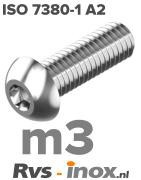 Rvs laagbolkopschroef m3 - ISO 7380-1 A2 | Rvs-inox.nl