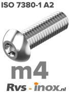 Rvs laagbolkopschroef m4 - ISO 7380-1 A2 | Rvs-inox.nl