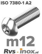 Rvs laagbolkopschroef m12 - ISO 7380-1 A2 | Rvs-inox.nl