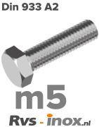 DIN 933 A2 - m5 | rvs zeskantbout m5 voldraad | Rvs-inox.nl