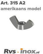 Art. 315 - Rvs vleugelmoer amerikaans model, Rvs A2 | Rvs-inox.nl