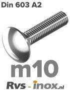 DIN 603 A2 - m10 | rvs slotbout M 10 voldraad | Rvs-inox.nl